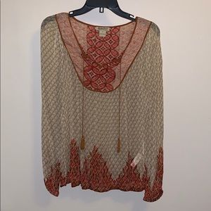 Lucky Brand sheer flowy top with tassels